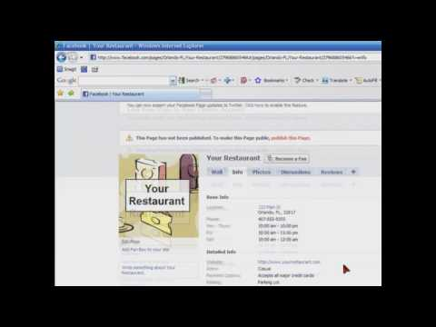 How to Create a Facebook Fan Page for your Restaurant in Ten Minutes