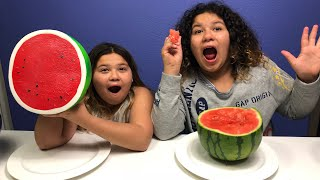 Download GIANT SQUISHY FOOD VS REAL FOOD CHALLENGE!! Video