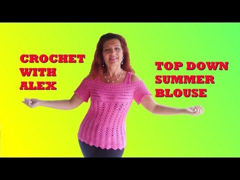 CROCHET MARILYN BLOUSE PEEK A BOO SHOULDERS any size tutorial EASY