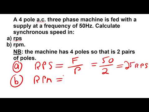 Synchronous speed calculation