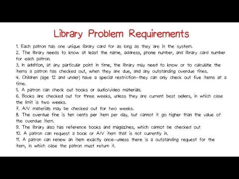 Library Problem Requirements
