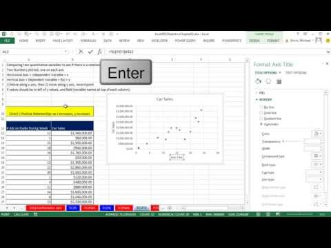Excel 2013 Statistical Analysis #13: Scatter Chart & Trendline, X Y Data, 2 Quantitative Variables