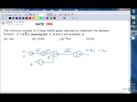 GATE 1998 ECE Minimum number of 2 input NAND gates required to implement the boolean function, Z = A