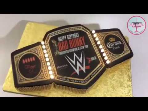 Bad bunny pr birthday cake wrestling belt wwe