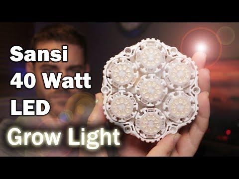 Sansi 40 Watt LED Grow Light Review w/PAR Footprint (2018)