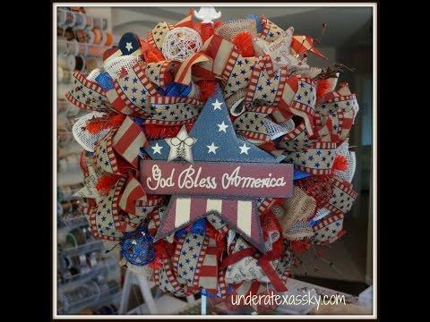 Poly Burlap Mesh Patriotic Wreath Tutorial