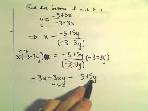 Finding the Inverse of a Function or Showing One Does not Exist, Ex 3