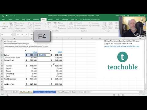 Vertical Analysis of an Income Statement in Excel by Chris Menard