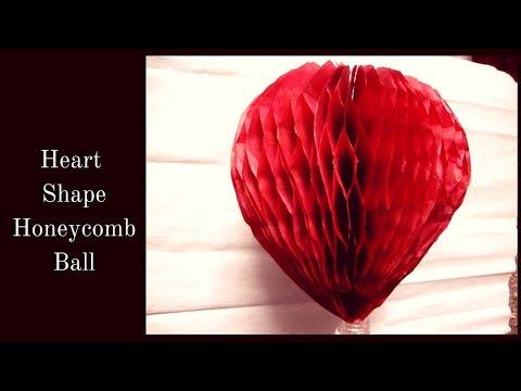 How to make heart shape honeycomb ball.honeycomb ball paper craft.