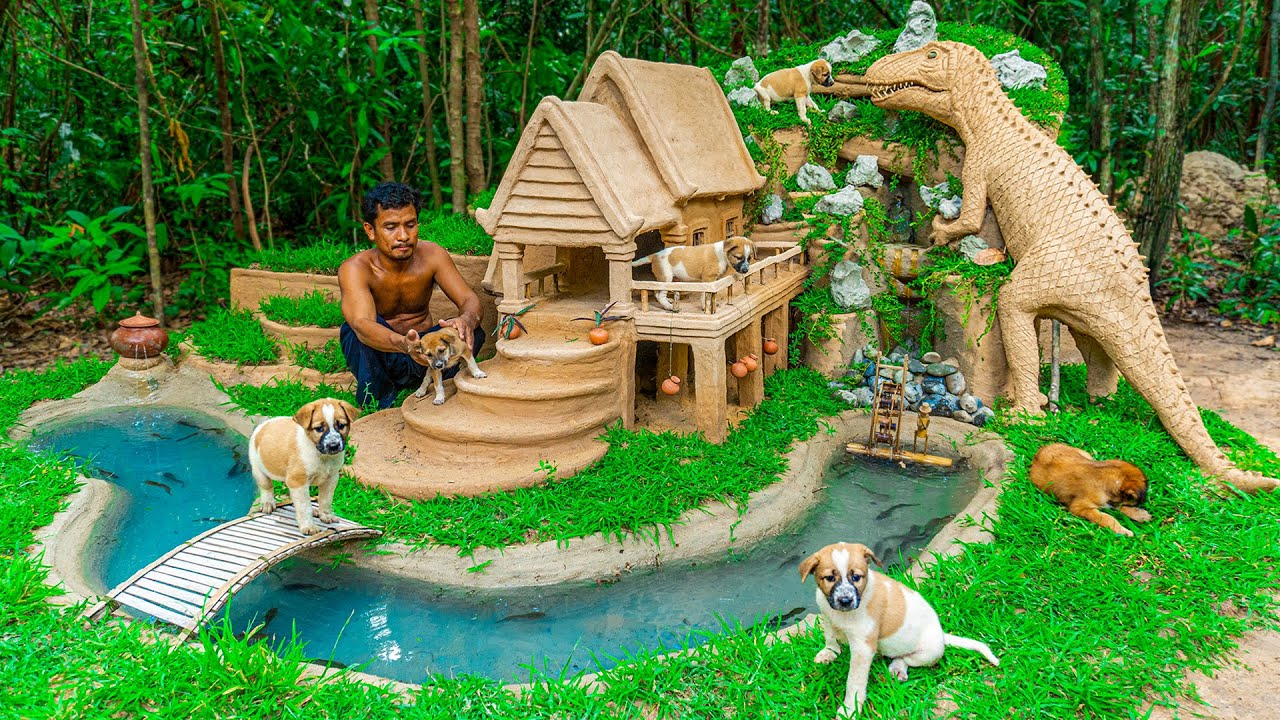 Rescue Poor Puppy Build Dog House And Fish Pond With Jurassic Park