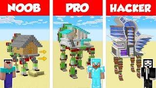 Minecraft NOOB vs PRO: WALKING REDSTONE HOUSE BUILD CHALLENGE in Minecraft / Animation