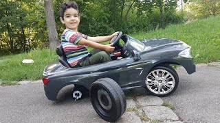 Kid driving Car for children The car loses one of its wheels Video for Kids