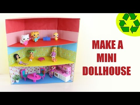 How to Make a Mini Dollhouse  - ver 1 - SUPER EASY- Doll Crafts - simplekidscrafts