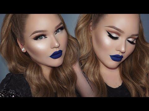 BLUE Lipstick + GLOWY Glam Cut-Crease Makeup