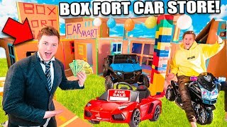 BOX FORT CAR STORE WIth Working Cars! 24 Hour Box Fort City Challenge Day 4