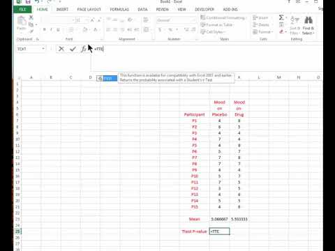 TTEST Command in Excel - Obtaining the P Value