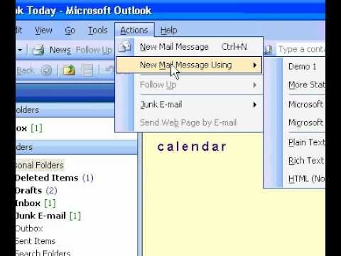 Microsoft Office Outlook 2003 Specify a default stationery for one new message you create