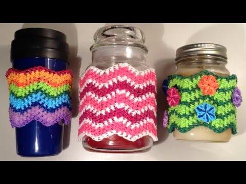 Chevron Stitch Sleeve Cover Loomigurumi Amigurumi Rainbow Loom Band Crochet Candle Coffee Cup Bottle