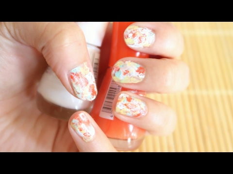 How to: Easy Water color/Marble nail art using a plastic bag | Naghma Syed