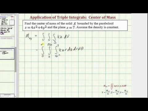 Find the Center of Mass of a Solid Using Triple Integrals