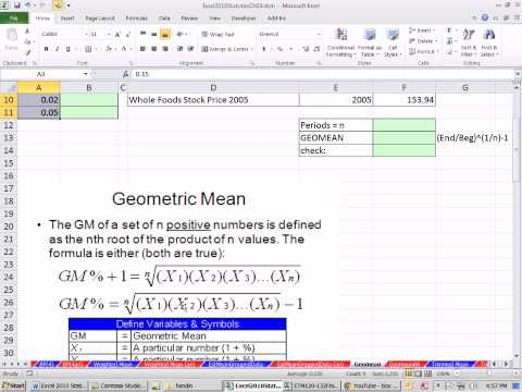 Excel 2010 Statistics 29 Means Weighted Trimmed From Grouped Data Geometric Mean
