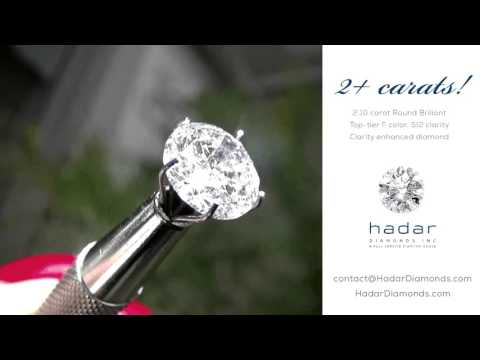 Valentine's Day Diamond Sale 2016! 2.10 carat Round Brilliant Clarity Enhanced Diamond.