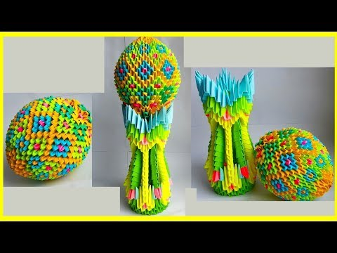 3D ORIGAMI EASTER EGG ON THE STAND.TUTORIAL.
