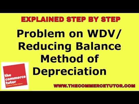 Problem on WDV or Reducing Balance Method of  Depreciation in Hindi