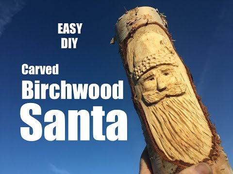 How to carved a Birch wood Santa Face Christmas Decoration with a dremel grinder
