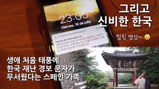 한국-스페인 가족, 한국 재난 경보 문자 받고 깜놀했다가 다음 날 신비로운 풍경에 또 깜놀