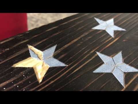 Carving a star in wood