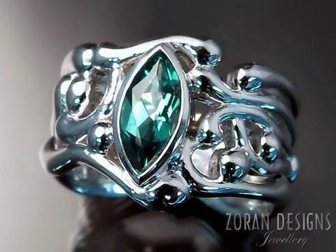Custom Made Jewelry: Organic Design Ring with Emerald
