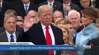 Donald Trump takes the oath of office, becomes 45th President