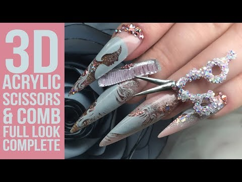 JJ's Hairdressing Full Look Part 3 - 3D Acrylic Scissors and Comb with Bling