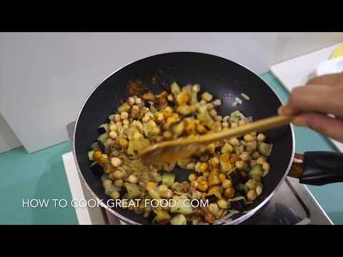 🇮🇳  Eggplant Chickpea Curry Recipe Vegan - Indian Masala