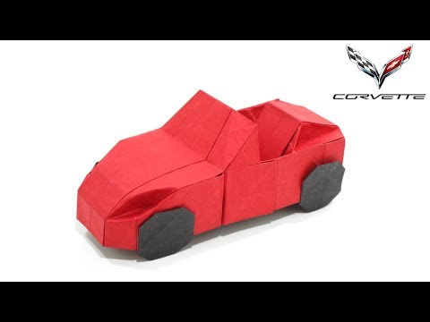 Origami Convertible Car tutorial (Jason Ku) 折り紙 コンバーチブルカー  SPORT CAR Chevrolet Corvette  Cabriolet