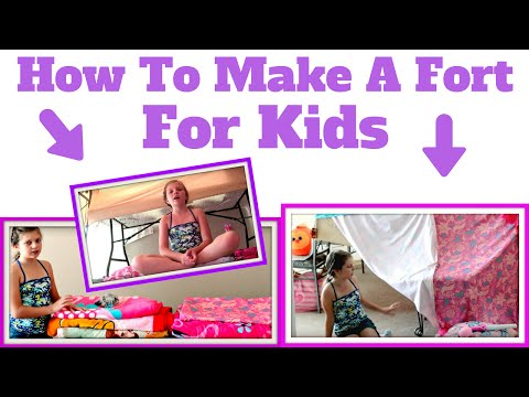 How To Make A Fort For Kids At Home Using Pillows & Blankets. Bedroom Fort Challenge