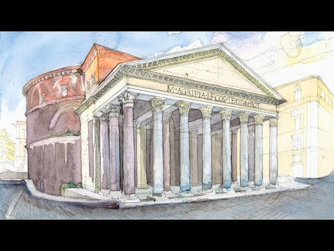 Monuments in Watercolor Ep # 06 Pantheon (Rome, Italy)