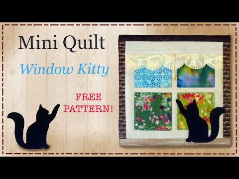 Mini quilt cat in window with FREE PATTERN by Lisa Pay