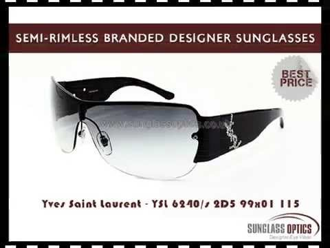 Semi-Rimless Branded Designer Sunglasses