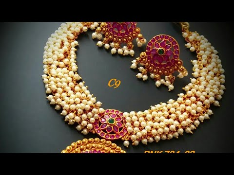 1 gram gold jewelry with price || Latest Matte Finish Necklace with price