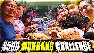 THE $500 MUKBANG CHALLENGE! (LOBSTER, STEAK, SUSHI)