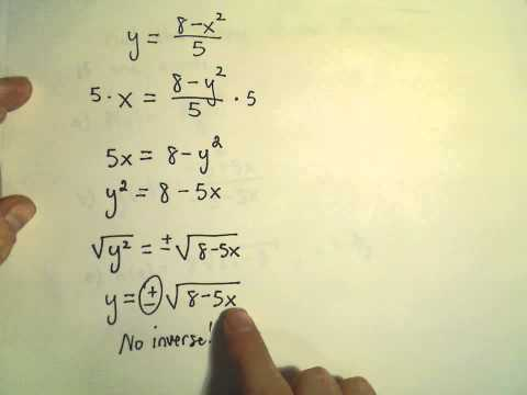 Finding the Inverse of a Function or Showing One Does not Exist, Ex 2
