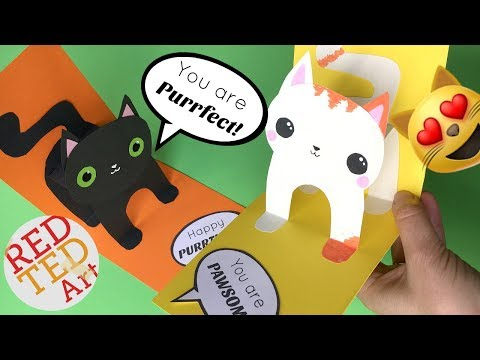 Easy 3D Cat Pop Up Card DIY - Birthday Card DIY - Valentine's Day DIY - Christmas Card DIY