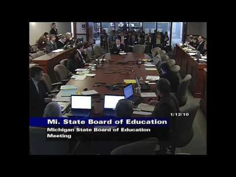 Michigan State Board of Education Meeting for January 12, 2010 - Session Part 2