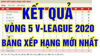 Kết quả vòng 5 V-League 2020 | Bảng xếp hạng V-League 2020 mới nhất