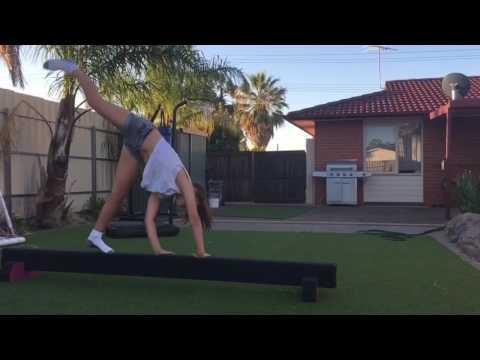 Gymnastics on my homemade gymnastics beam