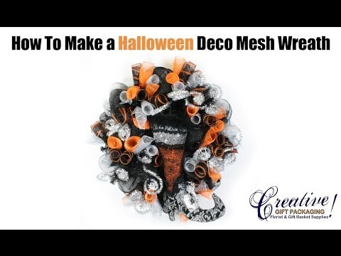 How to Make a Halloween Themed Deco Mesh Wreath