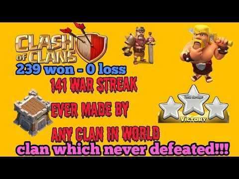 Clash of Clan || Clan which never defeated 239 war won || clan which never loss any match 2017||