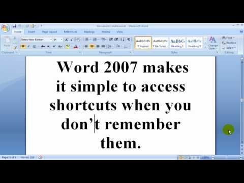 How to find shortcuts in Word 2007 and Word 2010?